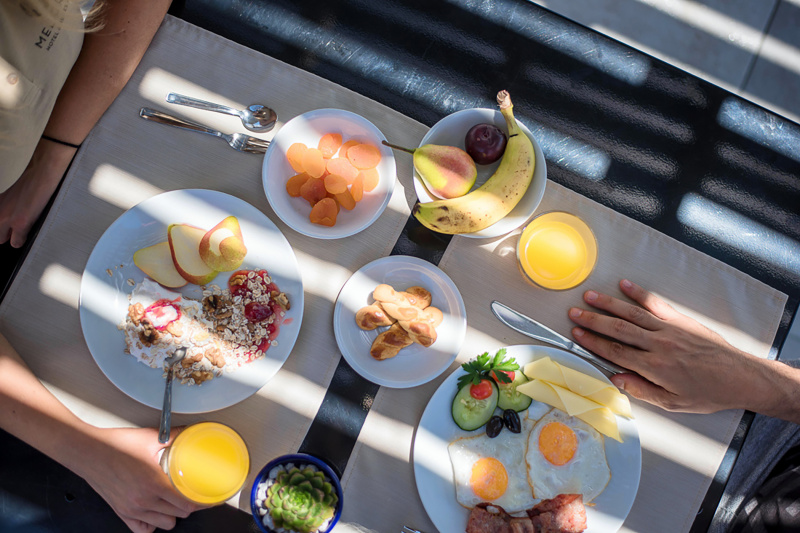 In-room breakfast with fresh fruits