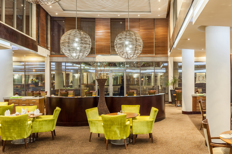 Hotel lounge with upscale amenities and free turn space