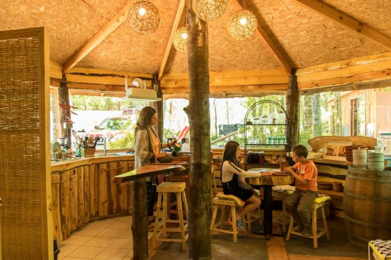 Cabañas Bosques de Loncotraro's circular lobby with a wooden table and bar