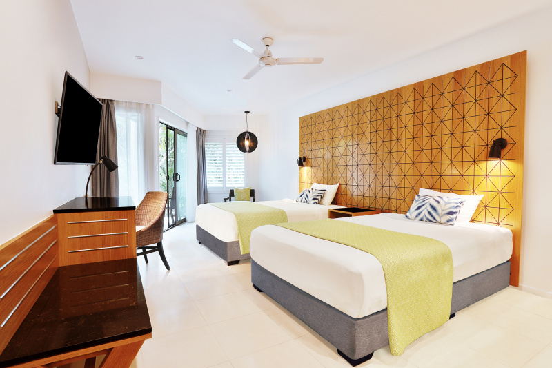Standard accessible room with queen beds.
