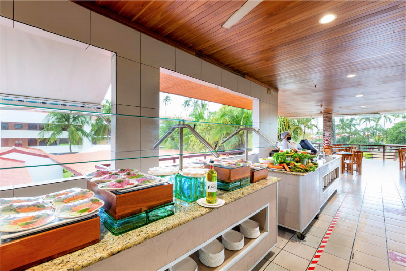 Buffet station and outdoor seating area