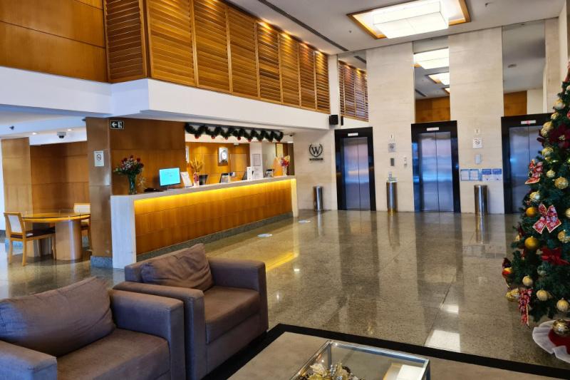 Hotel lobby and elevators