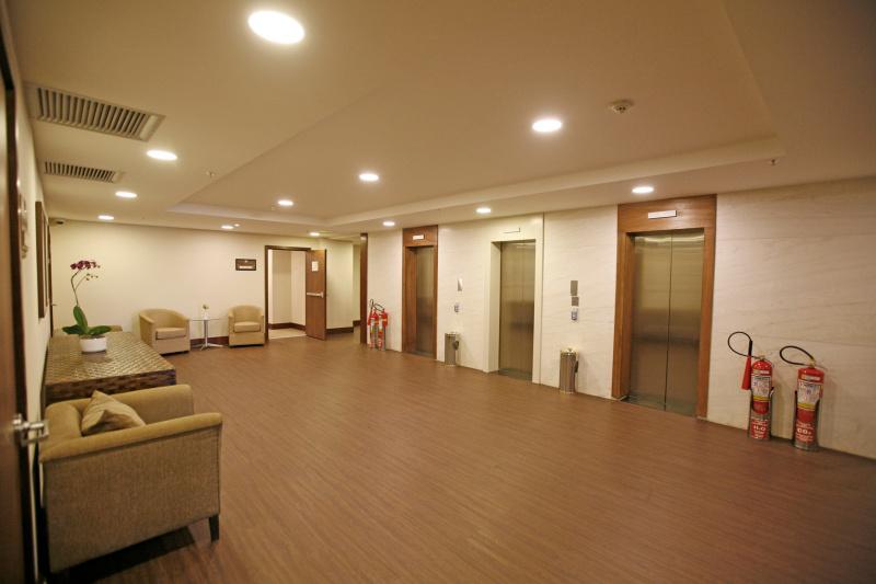 Elevators and lounge area