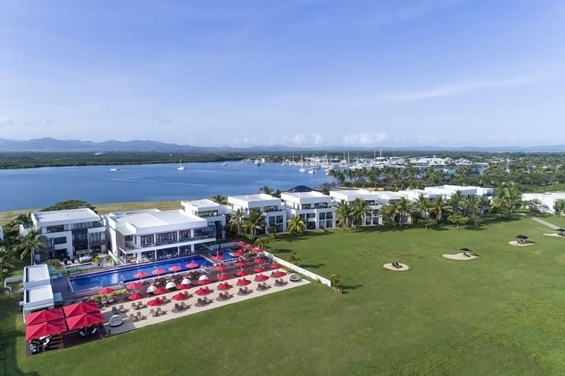 Overhead view of Hilton Fiji Beach Resort and Spa with sprawling lawns and waterside location