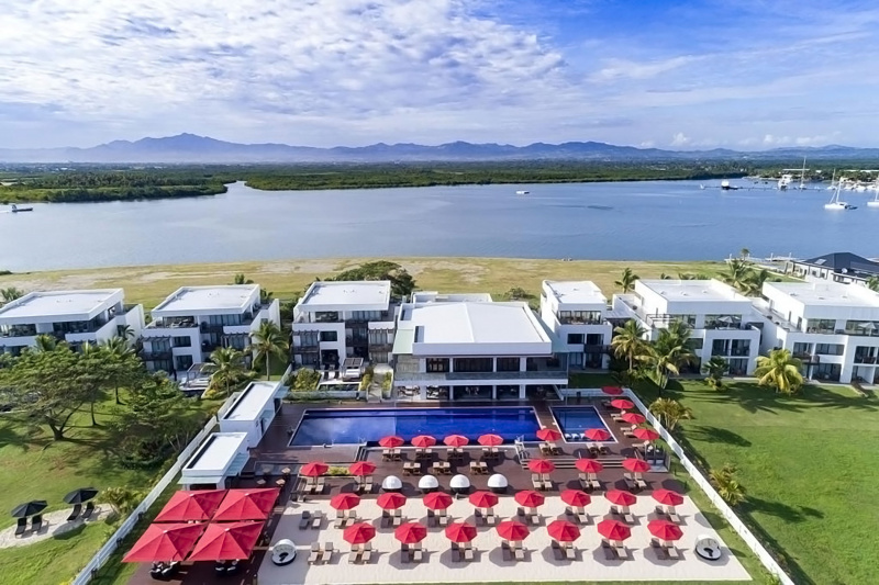 Overhead view of Hilton Fiji Beach Resort and Spa with large pool and waterside location