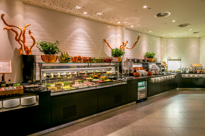 The breakfast buffet at the hotel's City Cafe