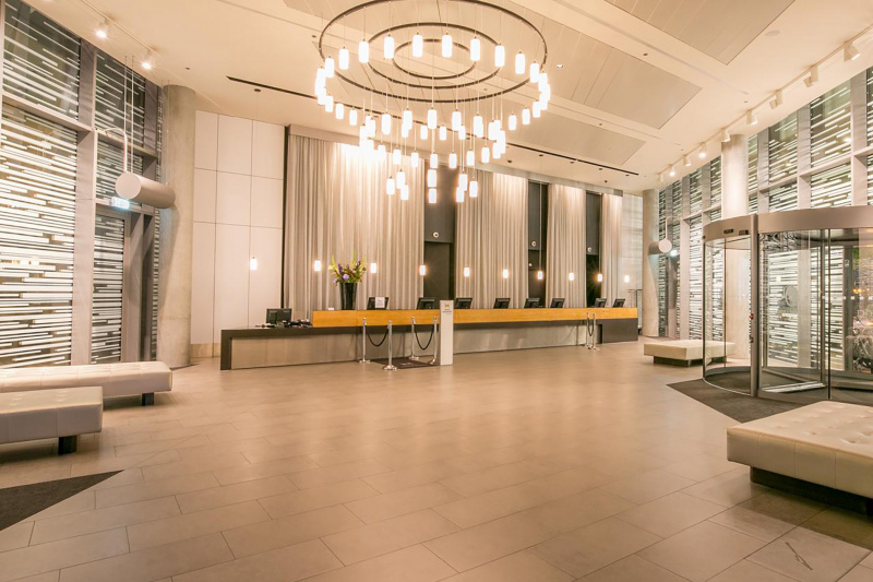 Hotel lobby with wheelchair accessible check-in counter