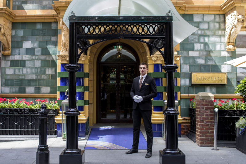 Hotel attendant at entrance