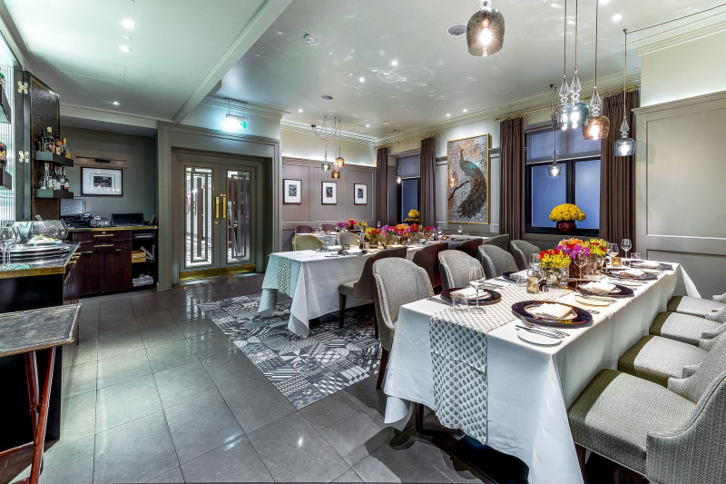 Dining room with table settings