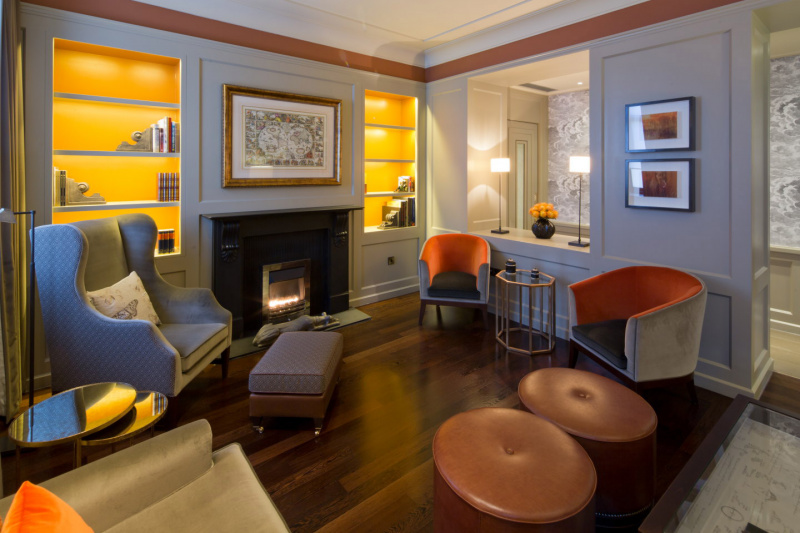 Hotel library with fireplace