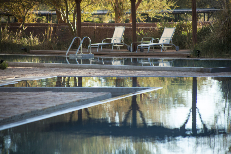 Pool with comfortable lounge chairs