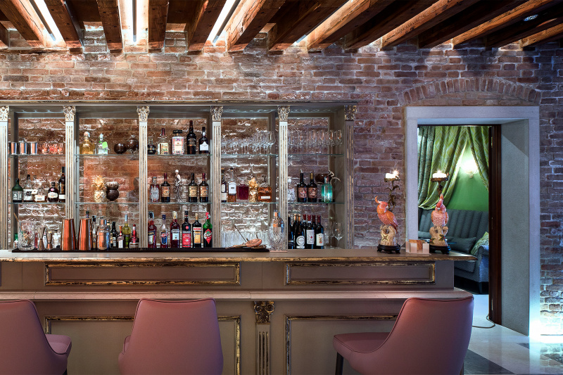 Hotel bar with various spirits and wines