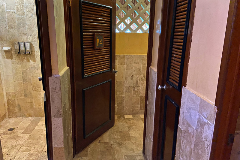The lobby restroom hosts an accessible stall