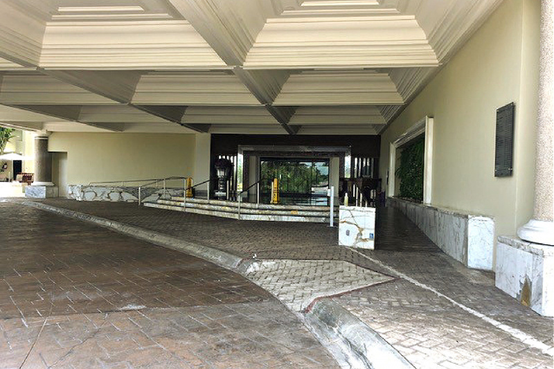 Hotel entrance with ramp