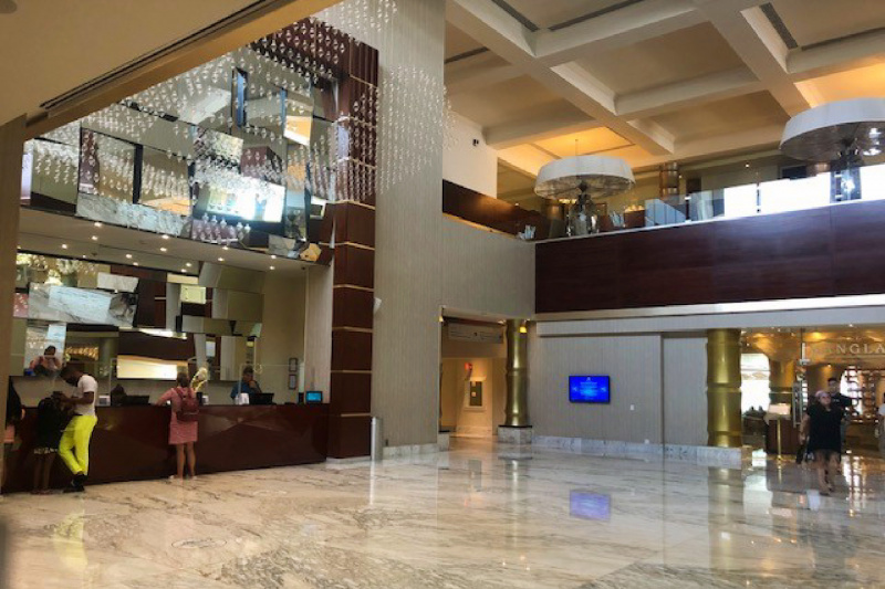Hotel lobby and check-in area