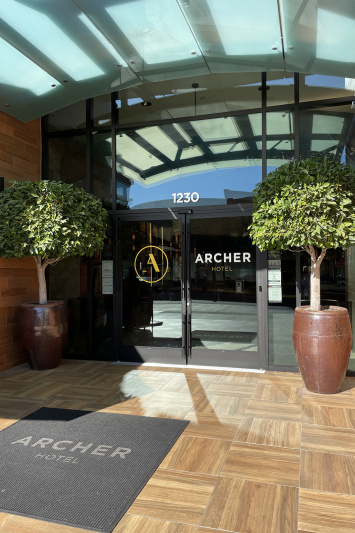 Archer Hotel Napa entrance with step-free doorway.