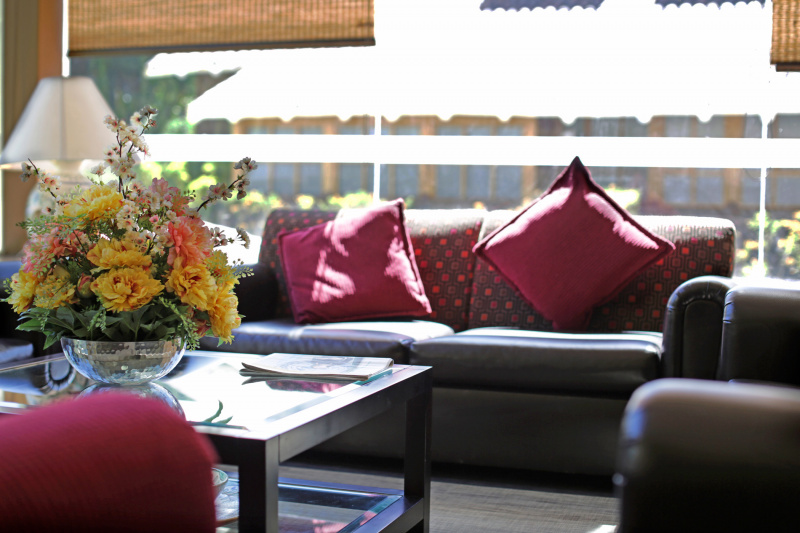 Lounge seating with floral display