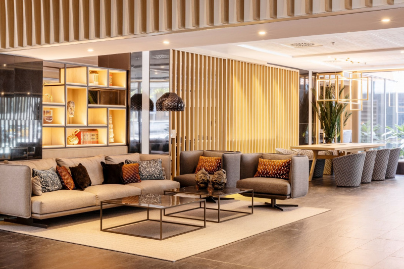 A cozy seating area in the lobby