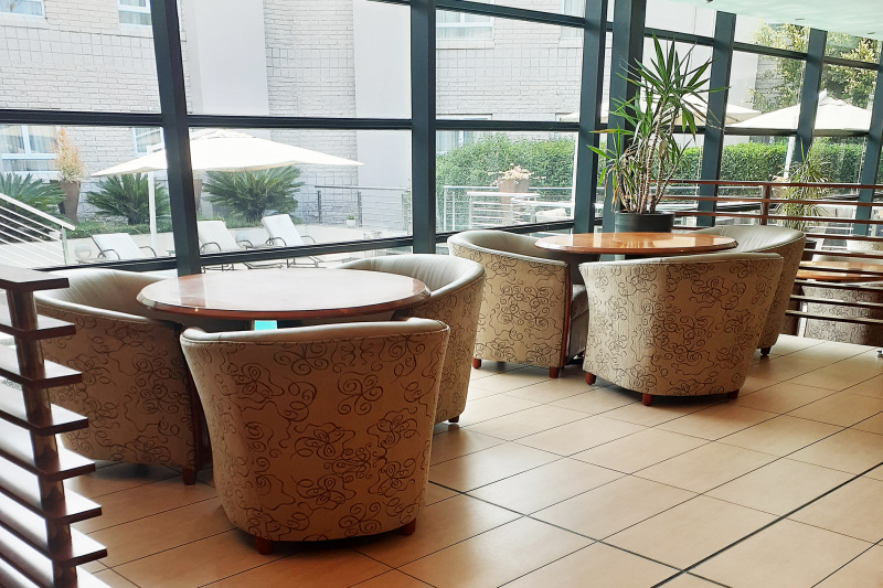 Lobby lounge seating and table at an accessible height