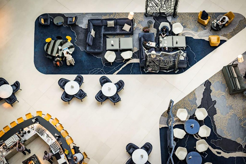 Bird's eye view of the lobby lounge area