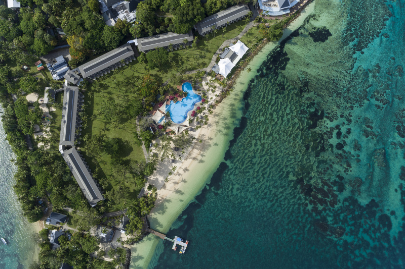 Overhead view of hotel grounds