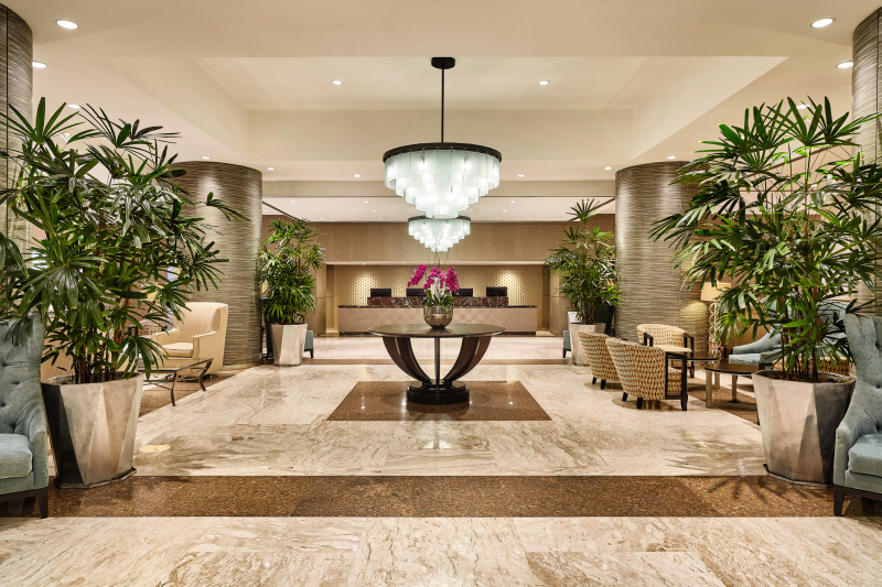 Sheraton Grand Rio Hotel & Resort lobby with ornate and elegant decor and spacious lounge areas