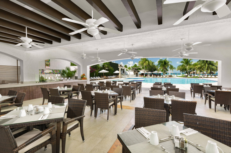Outdoor dining space and pool