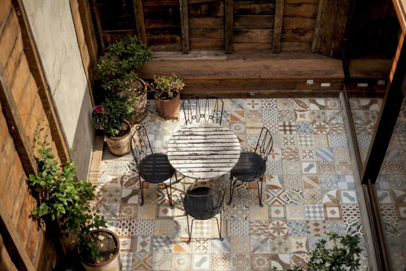 There is a patio where guests can relax.