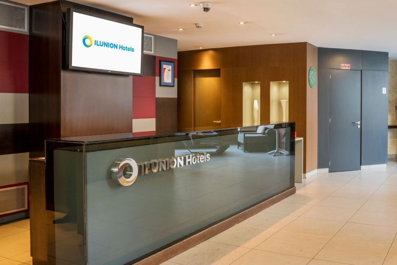 The lobby and reception desk