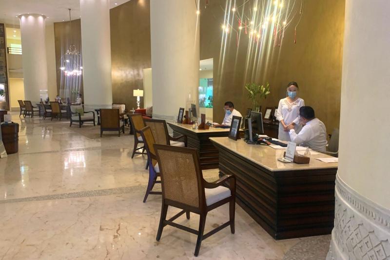 The reception desks