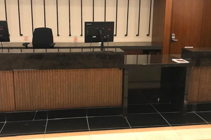 Front desk with standing counter