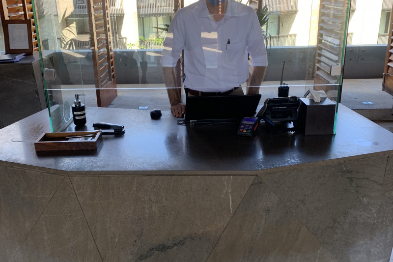 Lowered front desk.