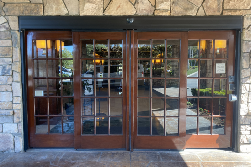 Entrance doors from outside.