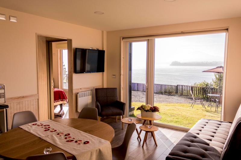Living room with lake views.