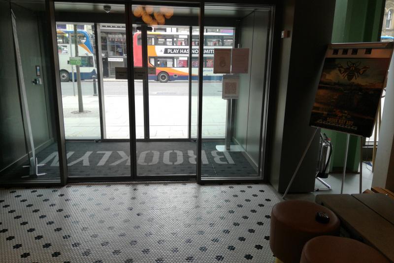 Wide entrance door and carpet