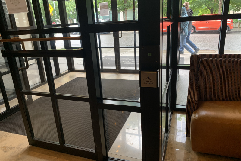 Wide entrance doors in the lobby