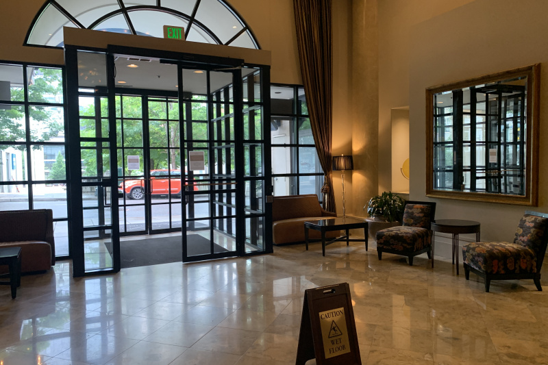 Lobby with wide entrance doors