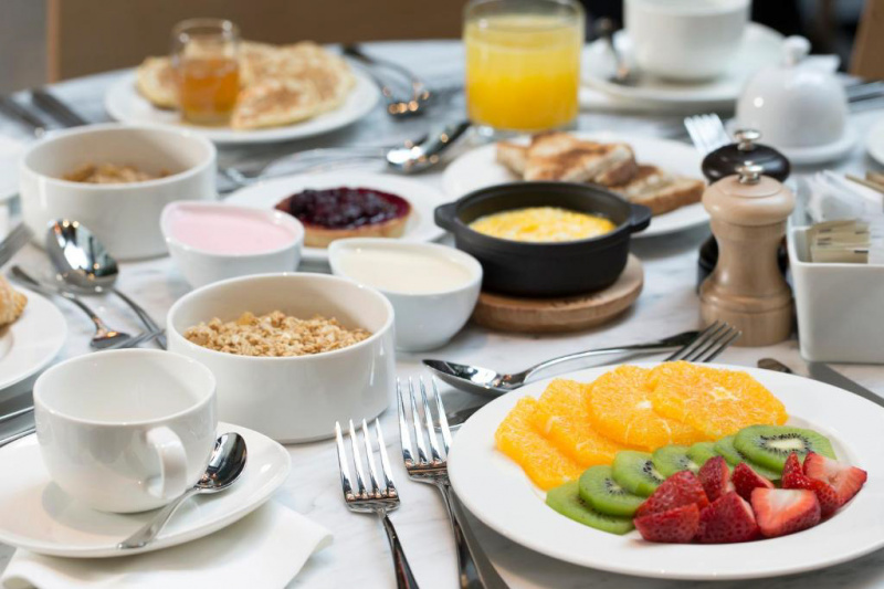 Breakfast with sweet and savory items