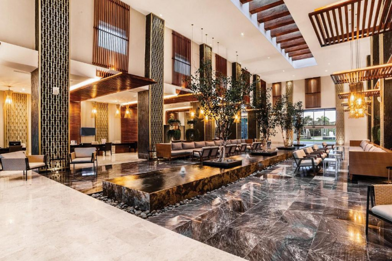 Lobby with fountain and seating area