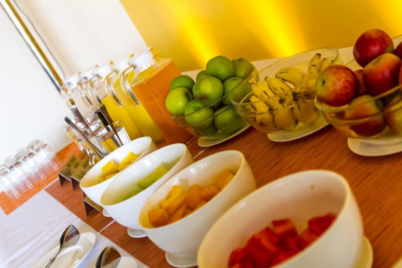 Breakfast features fresh fruit and juices