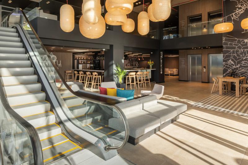 Lobby with escalator