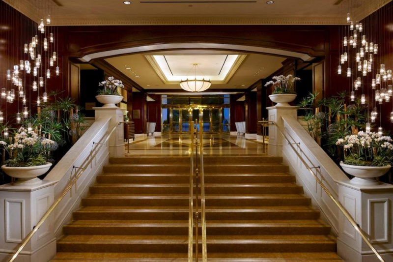 The stairs to the lobby
