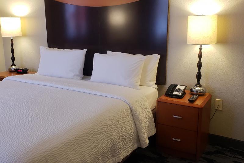 Guestroom bedside area