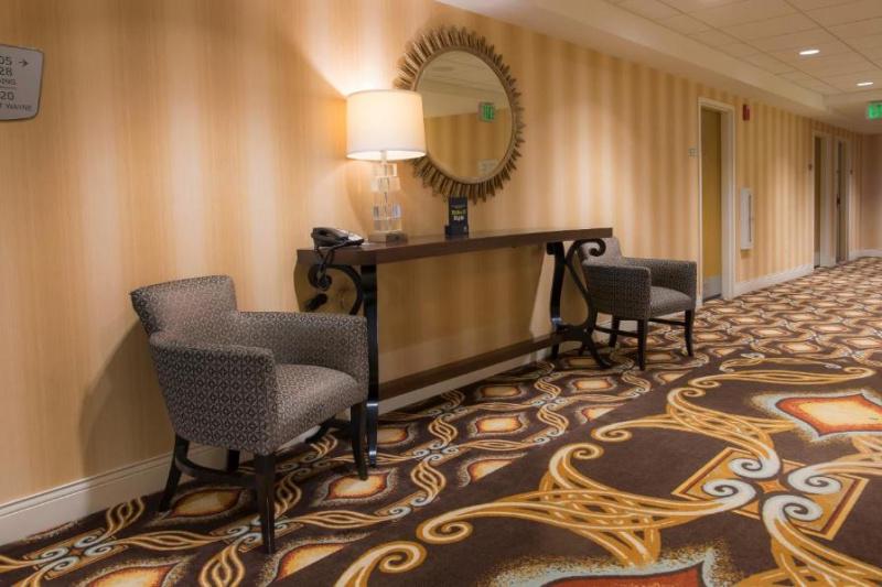 Spacious hotel hallways