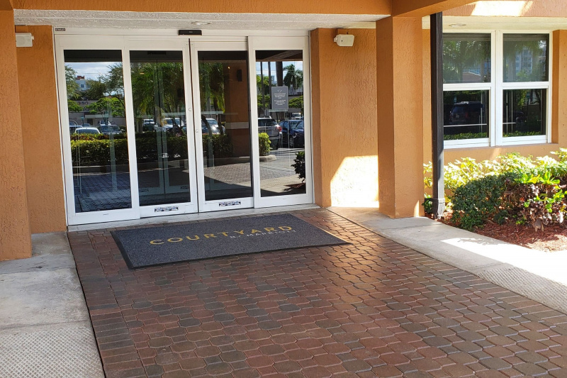 The main entrance to the hotel