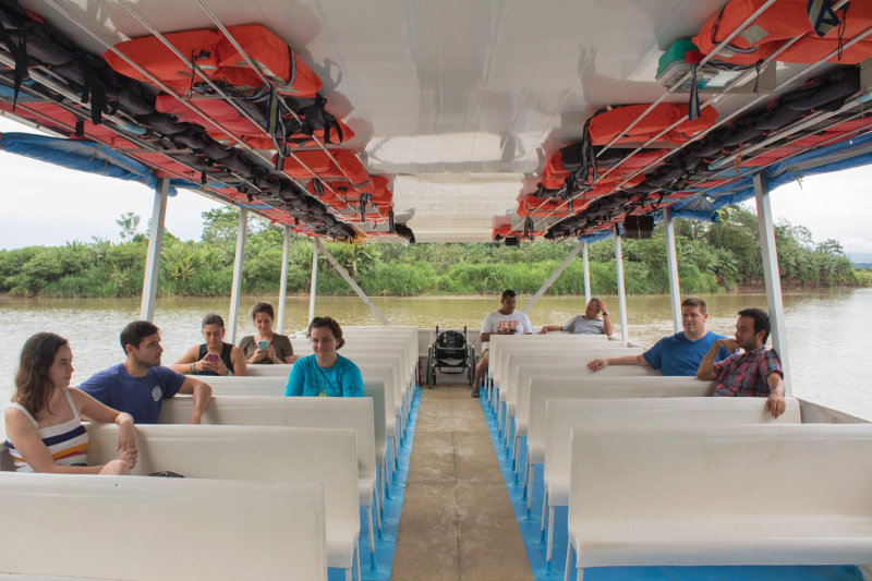 The interior of the tour boat