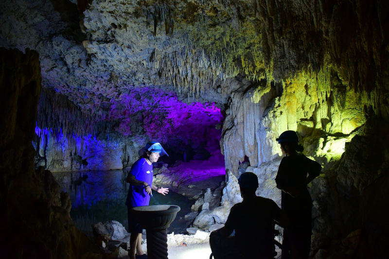 Guided tour inside cave