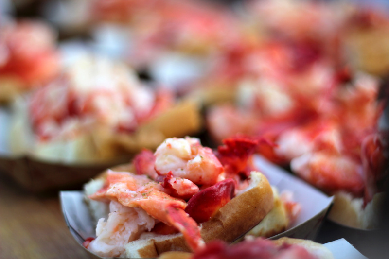 Classic New England Lobster Roll is served on the Manhattan Boat Tour