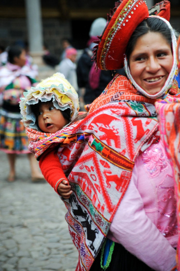 Woman dressed in colorful traditional clothing