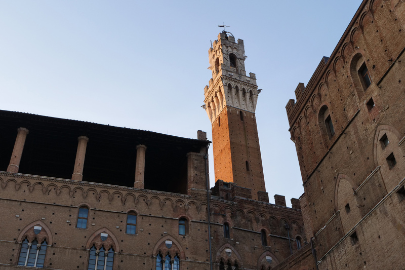 Large tower protrudes from building.